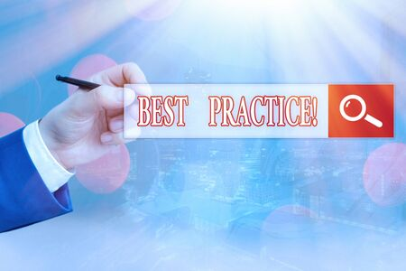 Conceptual hand writing showing Best Practice. Concept meaning commercial procedures that are accepted prescribed being correct Stock fotó