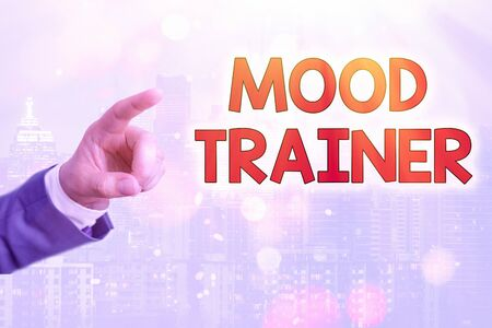 Writing note showing Mood Trainer. Business concept for a demonstrating who trains to alleviate mood disorders 版權商用圖片