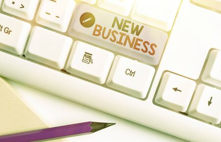 Writing note showing New Business. Business concept for the activity of buying and selling goods and services