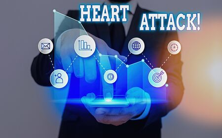 Text sign showing Heart Attack. Business photo showcasing sudden occurrence of coronary thrombosis resulting in death Imagens