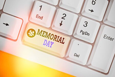 Writing note showing Memorial Day. Business concept for remembering the military demonstratingnel who died in service