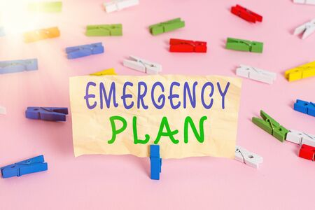 Text sign showing Emergency Plan. Business photo showcasing procedures for handling sudden or unexpected situations Colored clothespin papers empty reminder pink floor background office pin