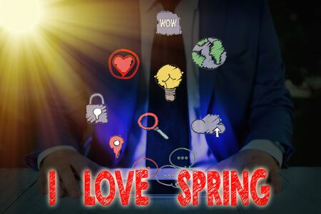 Conceptual hand writing showing I Love Spring. Concept meaning telling why having a strong affection to this season