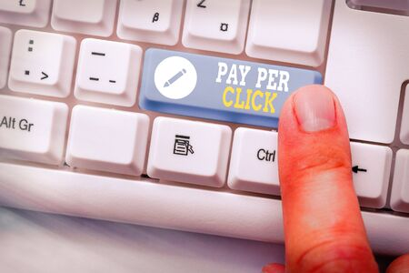 Writing note showing Pay Per Click. Business concept for internet marketing in which payment is based on clickthroughs