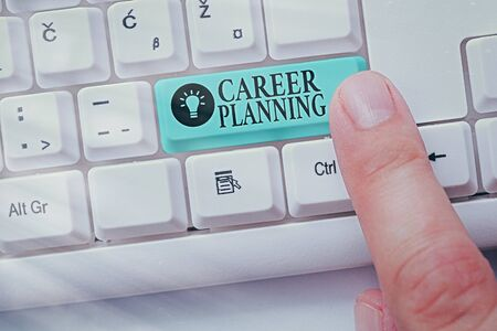 Text sign showing Career Planning. Business photo showcasing Strategically plan your career goals and work success