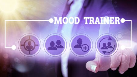 Text sign showing Mood Trainer. Business photo showcasing a demonstrating who trains to alleviate mood disorders