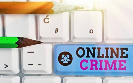 Writing note showing Online Crime. Business concept for crime or illegal online activity committed on the Internet