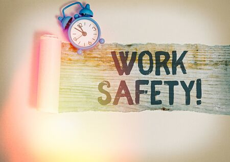 Text sign showing Work Safety. Business photo text policies and procedures in place to ensure health of employees
