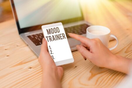 Text sign showing Mood Trainer. Business photo text a demonstrating who trains to alleviate mood disorders