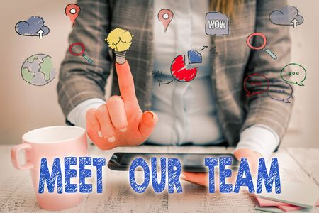Word writing text Meet Our Team. Business photo showcasing introducing another collegue to your team mates in the company