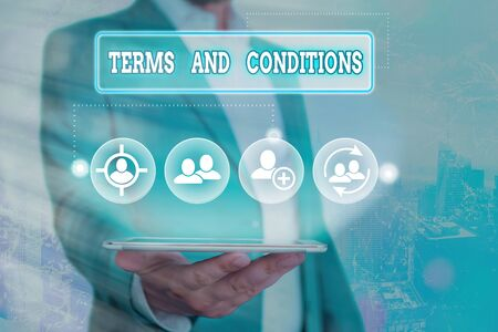 Text sign showing Terms And Conditions. Business photo showcasing rules that apply to fulfilling a particular contract Stock fotó