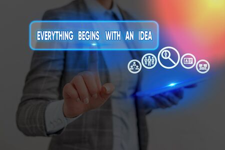 Conceptual hand writing showing Everything Begins With An Idea. Concept meaning steps you take to turn an idea into a reality