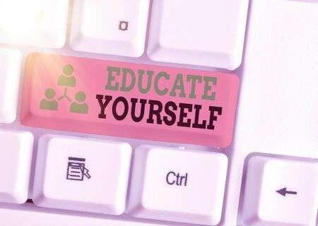 Word writing text Educate Yourself. Business photo showcasing prepare oneself or someone in a particular area or subject