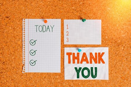 Text sign showing Thank You. Business photo text a polite expression used when acknowledging a gift or service Corkboard color size paper pin thumbtack tack sheet billboard notice board