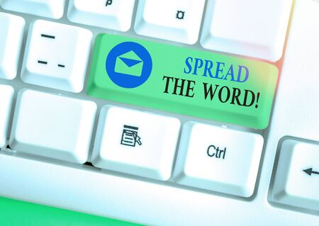 Word writing text Spread The Word. Business photo showcasing share the information or news using social media