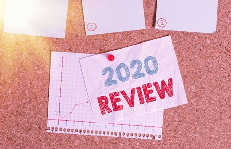 Writing note showing 2020 Review. Business concept for New trends and prospects in tourism or services for 2020 Corkboard size paper thumbtack sheet billboard notice board