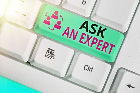 Text sign showing Ask An Expert. Business photo text consult someone who has skill about something or knowledgeable Stockfoto