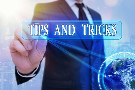 Word writing text Tips And Tricks. Business photo showcasing piece of inside facts specially in betting or investing 写真素材