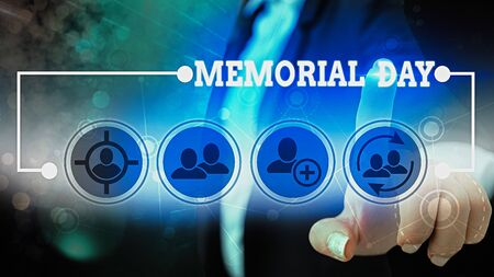 Text sign showing Memorial Day. Business photo showcasing remembering the military demonstratingnel who died in service