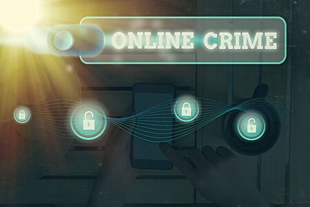 Word writing text Online Crime. Business photo showcasing crime or illegal online activity committed on the Internet