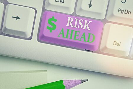 Writing note showing Risk Ahead. Business concept for A probability or threat of damage, injury, liability, loss