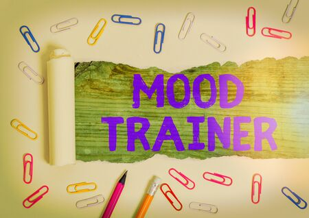 Handwriting text Mood Trainer. Conceptual photo a demonstrating who trains to alleviate mood disorders
