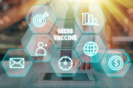 Word writing text Mers Vaccine. Business photo showcasing get dose to improve immunity to viral respiratory disease 写真素材