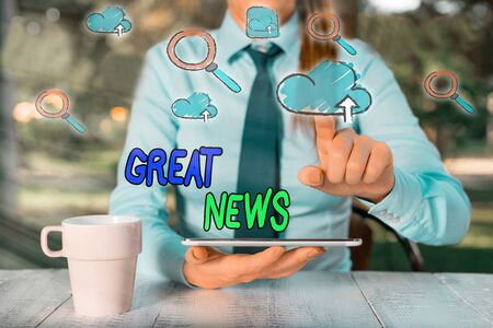 Conceptual hand writing showing Great News. Concept meaning someone or something that is positive encouraging and uplifting