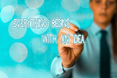 Word writing text Everything Begins With An Idea. Business photo showcasing steps you take to turn an idea into a reality 版權商用圖片