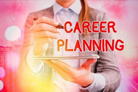 Text sign showing Career Planning. Business photo text Strategically plan your career goals and work success