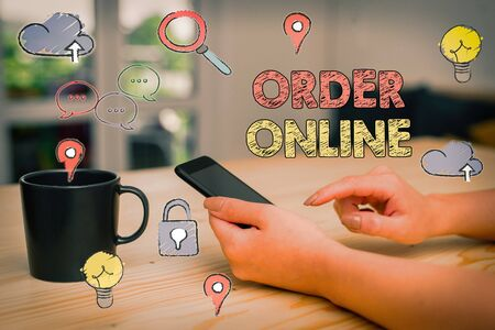 Text sign showing Order Online. Business photo showcasing activity of buying products or services over the Internet