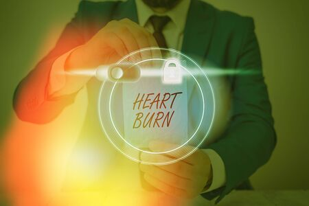 Word writing text Heart Burn. Business photo showcasing a burning sensation or pain in the throat from acid reflux Stock Photo