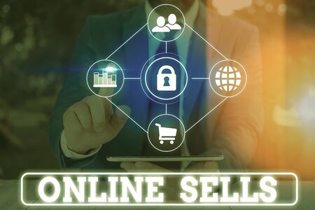 Word writing text Online Sells. Business photo showcasing sellers directly sell goods or services over the Internet 版權商用圖片