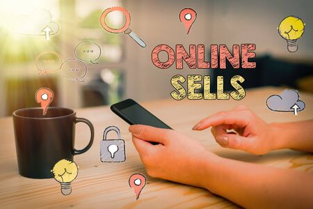 Text sign showing Online Sells. Business photo showcasing sellers directly sell goods or services over the Internet