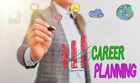 Conceptual hand writing showing Career Planning. Concept meaning Strategically plan your career goals and work success