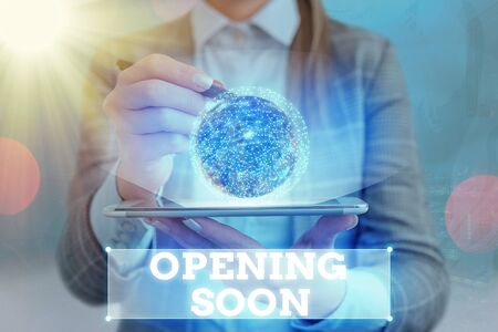 Text sign showing Opening Soon. Business photo text an act or instance of making or becoming open to the public Elements of this image furnished by NASA