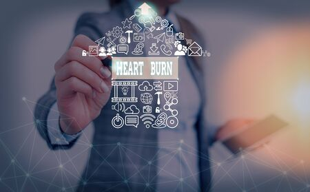 Writing note showing Heart Burn. Business concept for a burning sensation or pain in the throat from acid reflux Stock fotó