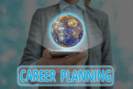 Writing note showing Career Planning. Business concept for Strategically plan your career goals and work success