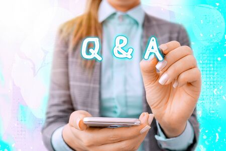 Text sign showing Q And A. Business photo text a period of time or an occasion when someone answers questions