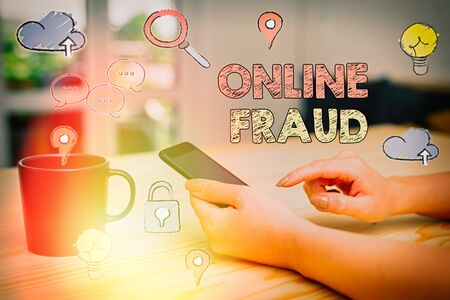 Text sign showing Online Fraud. Business photo showcasing use of Internet services to deceive victims and steal money