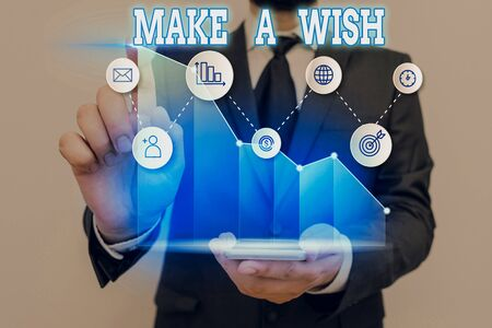Conceptual hand writing showing Make A Wish. Concept meaning to desire a situation that is different from the one that exist