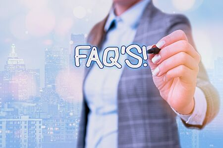 Word writing text Faq. Business photo showcasing a list of questions and answers relating to a particular subject