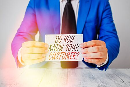 Conceptual hand writing showing Do You Know Your Customer Question. Concept meaning service identify clients with information Man holds empty paper with copy space in front of him Space
