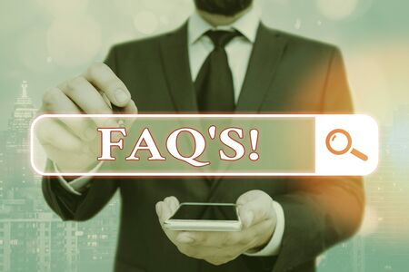 Handwriting text Faq. Conceptual photo a list of questions and answers relating to a particular subject