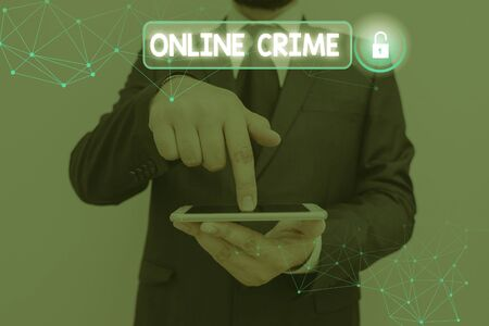 Conceptual hand writing showing Online Crime. Concept meaning crime or illegal online activity committed on the Internet