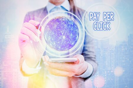 Text sign showing Pay Per Click. Business photo text internet marketing in which payment is based on click through