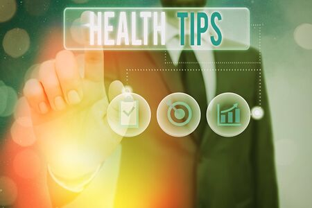 Word writing text Health Tips. Business photo showcasing advice or information given to be helpful in being healthy