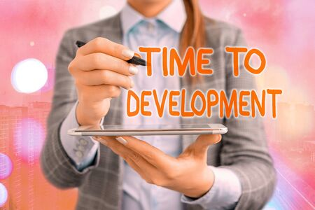Text sign showing Time To Development. Business photo text a length of time during which a company grows or develop