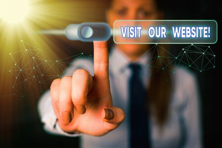 Writing note showing Visit Our Website. Business concept for visitor who arrives at web site and proceeds to browse