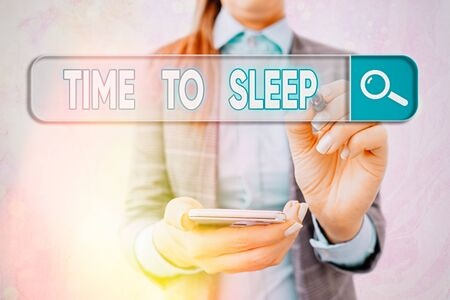 Text sign showing Time To Sleep. Business photo text a natural period of slumber or to be in state of inactivity
